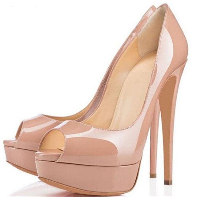 82520f34e4 Mulheres Sapatos Nude Couro Envernizado Salto Alto Peep Toe Bombas Moda  Senhoras Clássicas Dos Saltos de