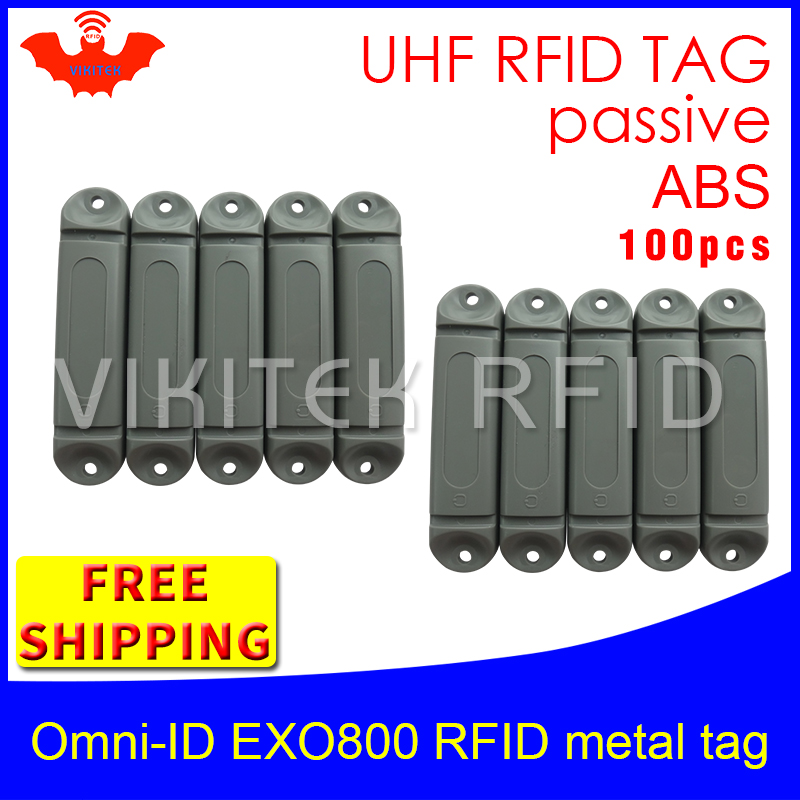 UHF RFID metal tag omni-ID EXO800 915m 868mhz Impinj Monza4QT EPC 100pcs free shipping durable ABS smart card passive RFID tags uhf rfid anti metal tag omni id adept 500 915m 868m gas cylinder management alien higgs3 epcc1g2 6c smart card passive rfid tags