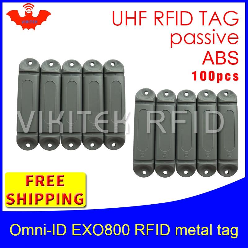 UHF RFID metal tag omni-ID EXO800 915m 868mhz Impinj Monza4QT EPC 100pcs free shipping durable ABS smart card passive RFID tags