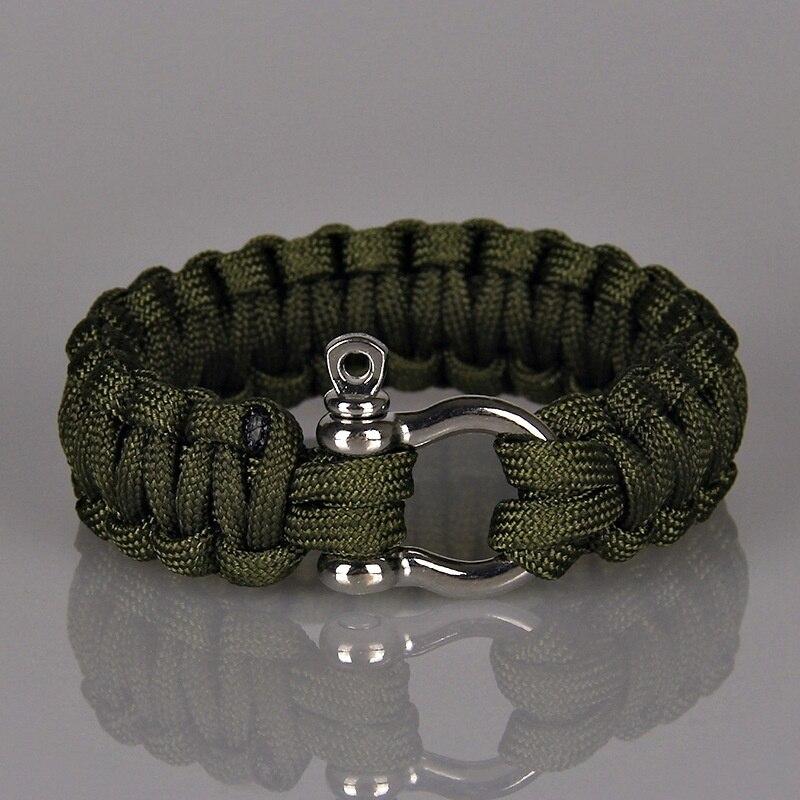 Bracelets de Paracord de Camping en plein air pour hommes femmes Parachute corde fermoir Bracelet de survie Homme bijoux tressés à la main