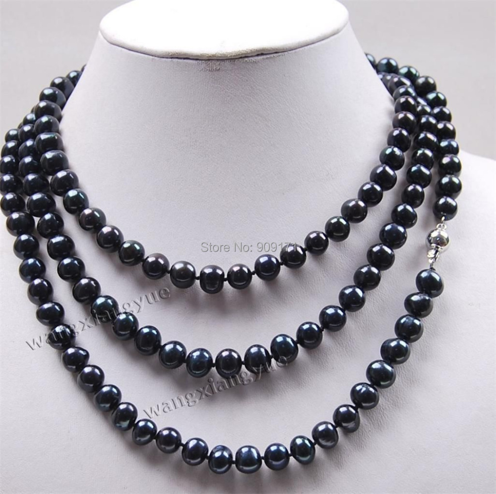 Free Shipping>>Long 50 7 8mm Black Akoya Cultured Pearl Jewelry Necklace