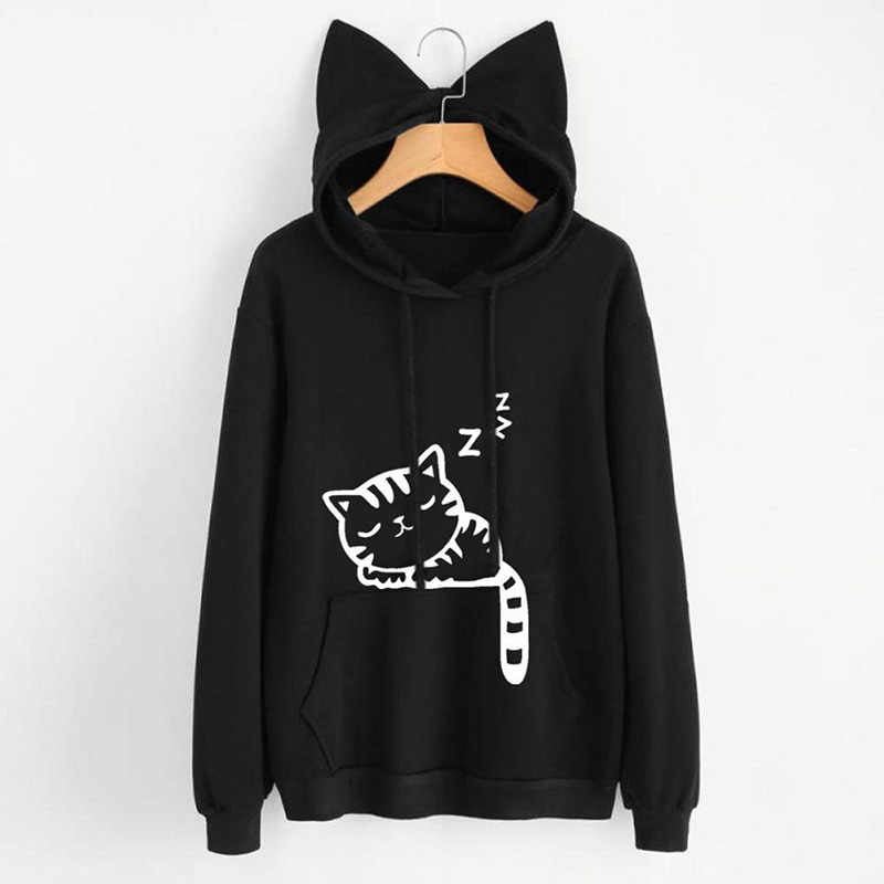 2019 Herbst Winter Mit Kapuze Hoodies Frauen Kawaii Katze Ohr Lose Beiläufige Streetwear Langarm Warme Oberbekleidung Pullover Sweatshirts