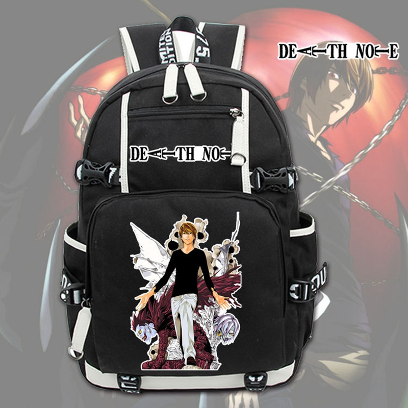 New Japanese Anime Death Note Laptop Backpack Cosplay Cartoon Unisex Student School Bags Bookbag Travel Black Bag anime death note male black short curly cosplay wig show