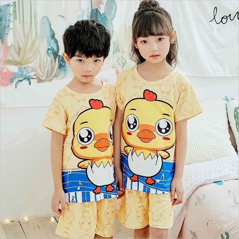 цена на Manufacturers wholesale 2018 summer boys short-sleeved shorts round neck cartoon printing cute suit pajamas casual home service