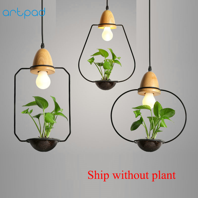 Artpad Modern Green Plant Pendant Light Wrought Iron Decor Restaurant Hotel Bar Cafe Living Room Study Lighting LED Pendant Lamp