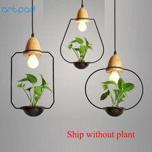 цены Artpad Modern Green Plant Pendant Light Wrought Iron Decor Restaurant Hotel Bar Cafe Living Room Study Lighting LED Pendant Lamp