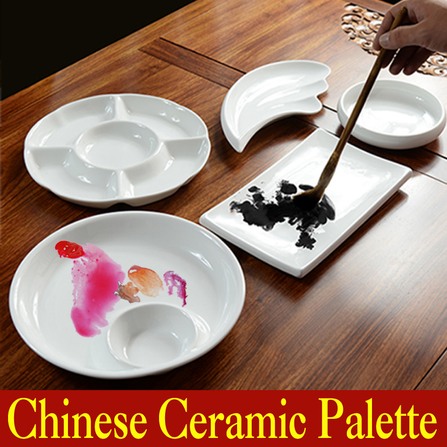 Chinese Ceramic Palette Customized Painting Calligraphy Supplies Acrylic paint Palette mix the colours Art Set