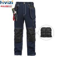 Vêtements de travail pour hommes combinaisons vêtements de travail coton printemps automne pantalons outils poches résistant à l'usure multi-fonctionnelle genouillères B112