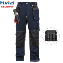 mens workwear Overalls work clothes cotton spring autumn trousers tool pockets wear-resisting multi-functional knee pads B112