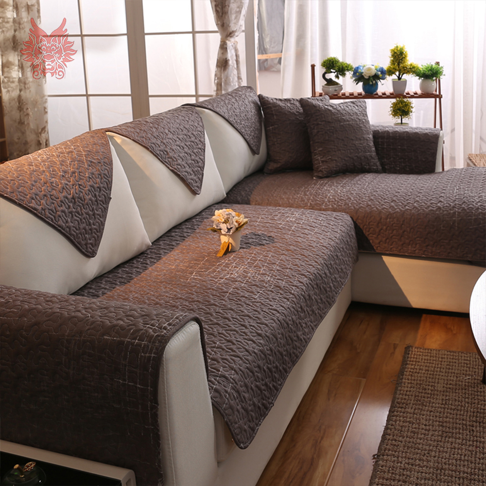 American Style Coffee Quilted Sofa Cover 100% Pure Cotton Quilting  Slipcovers Anti Slip Canape Home Decor SP4206 FREE SHIPPING