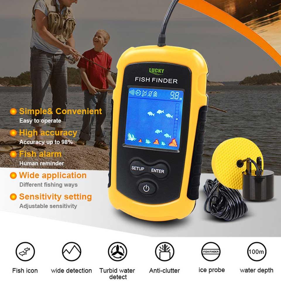 Couleurs chanceuses affichage Portable poisson trouveur écho sondeur alarme transducteur sondeur 0.7-100m pêche écho sondeur - 2