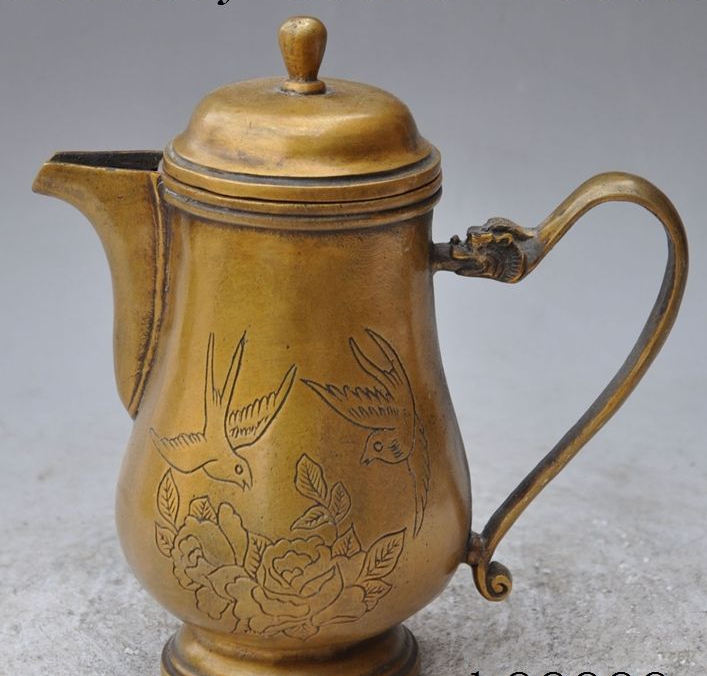 Collecting Marked Chinese palace Brass lucky Phoenix Flower Statue Wine Tea Pot