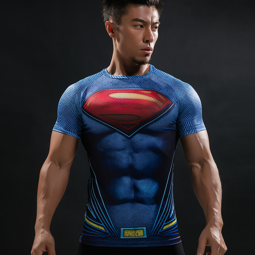 Batman VS Superman T-shirt T 3D Bedruckte T-shirts Männer Kurze raglanärmel Fitness Cosplay Kostüm DC Film Slim Fit Tops Männlich
