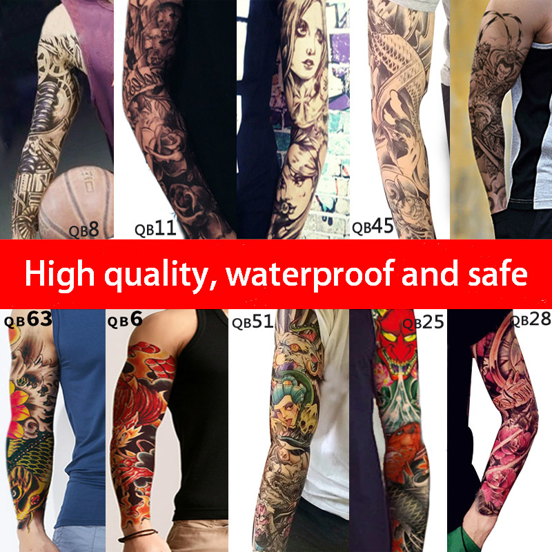 Full Flower Arm Tattoo Sticker 40models Fish Peacock Lotus Temporary Body Paint Water Transfer Fake Tatoo Sleeve