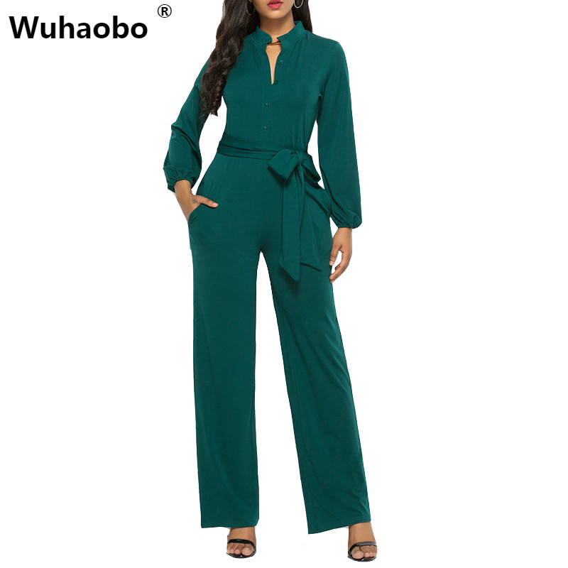 Wuhaobo Soild Women One Piece Elegant Jumpsuit Romper Black Long Sleeve Summer Overalls Casual Streetwear Wide Leg Pants