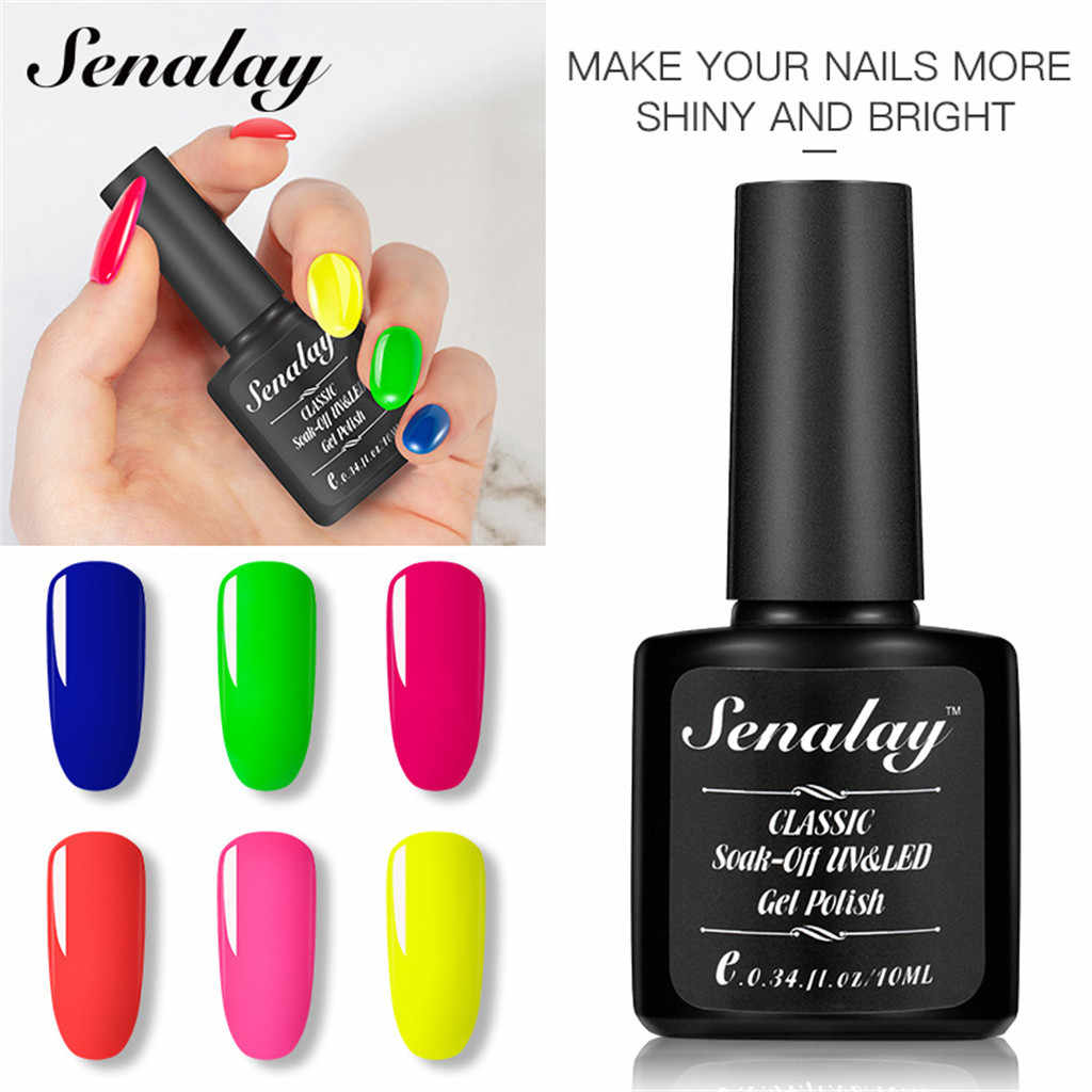 6 kleuren 10ml Neon Fluorescentie Gel Nagellak Pure Soak-Off UV LED Gel langdurige Vernis lak Nail Art # een