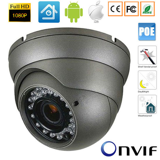 2.0MP 1920*1080P HD Dome Outdoor IP Camera CCTV P2P Waterprooof 48V POE Camera with PC&Mobile Phone View P2P Onvif xmeye hd pc camera free drive with a phone
