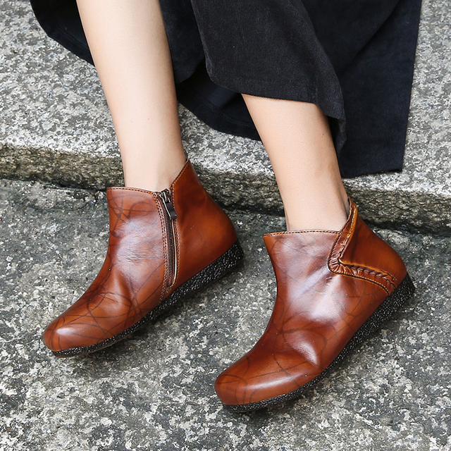 Flat Shoes Woman Ankle Booties 2018 Latest Design Handmade Lady Short Boots Vintage Round Toe Genuine Leather Soft Shoes Female