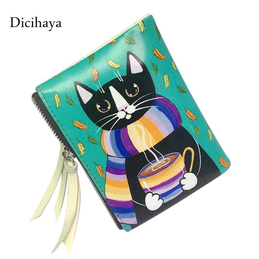 Dicihaya portefeuille femelle filles en cuir animal imprime les femmes chat conception portefeuilles délicat titulaire de carte