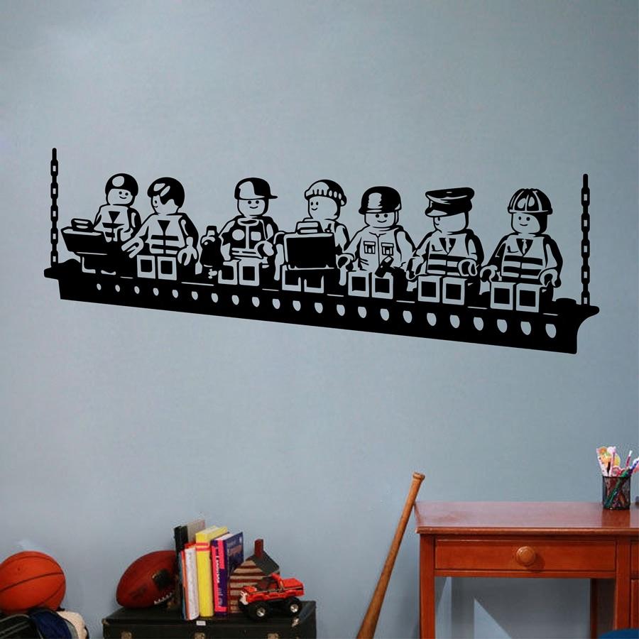 Funny Cartoon Robots Lego Vinyl Wall Sticker Boys Room