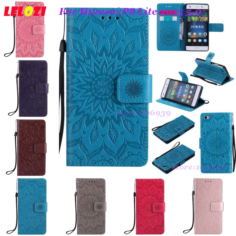 LELOZI Flip Lady TPU PU Leather Lather Fashion Retro Vintage Case Sleeve For Huawei P8 Lite 2015 5.0 Sunflower Brown Green Pink