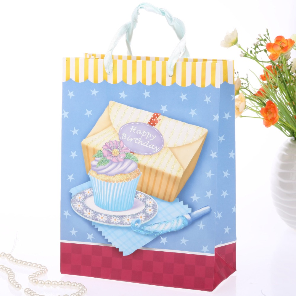 Free Shipping 12pcs/lot Happy Birthday Gift Handbags Favor Paper Bag Wedding Favor Candy Box Christmas Shopping Bags