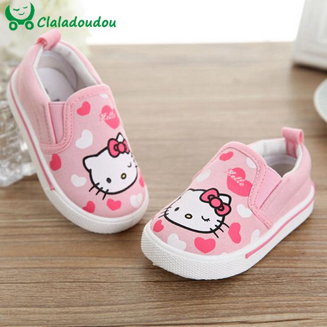 Mocasines bebé primavera otoño hello kitty corazón girl shoes zapatos de lona de moda recién nacido andador infantil casual shoes 0-6 años de edad