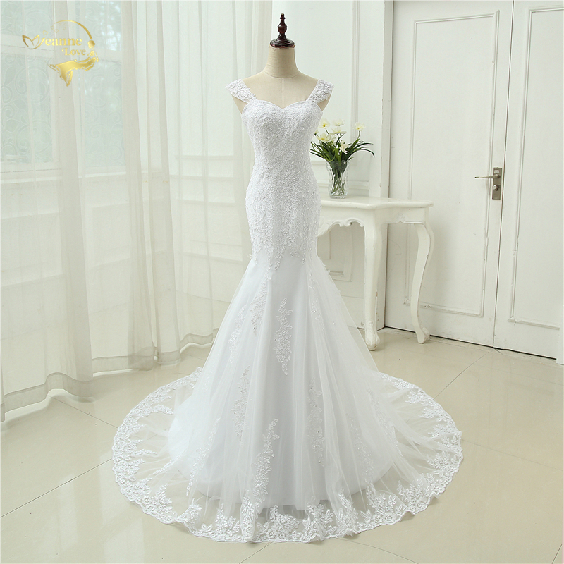 Sexy Vestidos De Novia Mermaid Robe De Mariage Tulle With Lace Detachable Straps Long Wedding Dresses