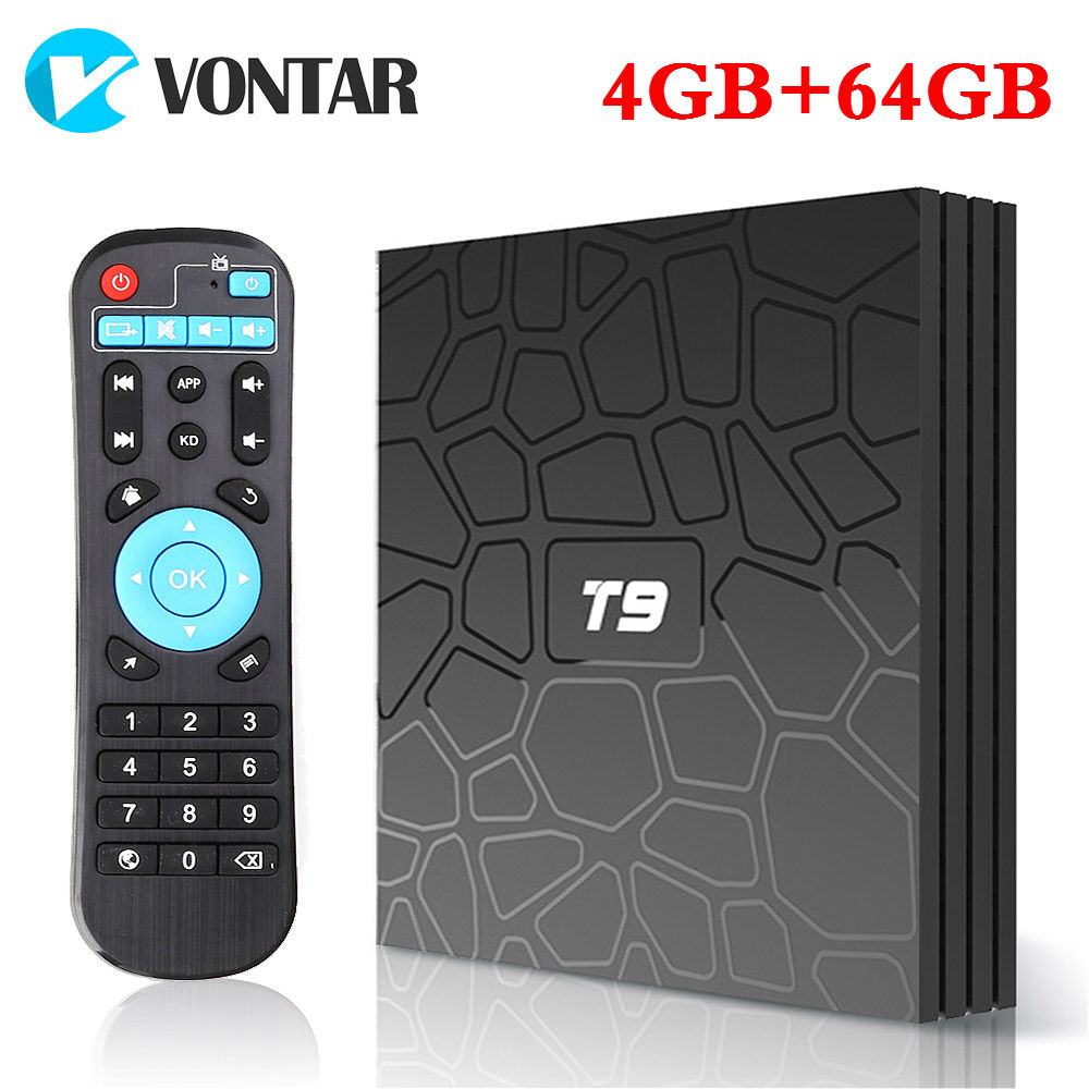 2018 4G/64G 4 K Smart TV Box Android 8.1 T9 RK3328 QuadCore 4G/32G USB3.0 Set Top Box TV Option 2,4G/5G Dual WIFI Media Player