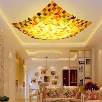 Idyllic European square LED bedroom ceiling lamp, Mediterranean American style warm seashore balcony aisle lamps