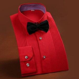 Image 3 - 2019 브랜드 뉴 남자 3 차원 셔츠 결혼 된 신랑 셔츠 슬림 맞는 groomsman 긴 소매 남자 드레스 턱시도 셔츠 yn047