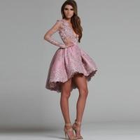 Elegant Robe De Cocktail Dresses 2017 V Neck Lace Appliques With Long Sleeves High Low Short