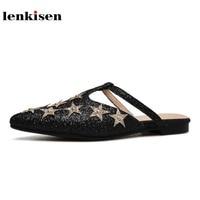 Lenkisen Sequined Cloth Shopping Beauty Women Sandals Peep Toe Love Or Stars Pattern Rivet Decoration Luxury