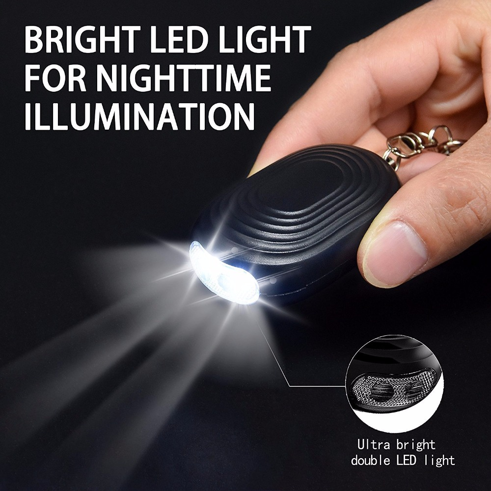 LED light keychain alarm for women girls kids elderly emergency seld defense personal alarm keychain with color box package все цены