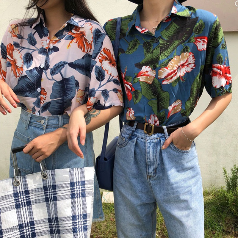e49ef4e474 E Harajuku Women Blouse and Tops Printed Vintage Korean Short Sleeve Casual  blusas Hawaiian Beach female