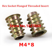 100pcs M4*8 Zinc Alloy Furniture Hex socket Drive Head Nut Threaded for Wood Insert Nuts