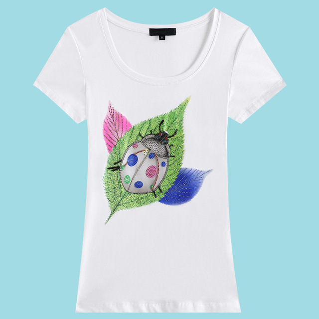 LIKEPINK Summer Female T-Shirt Coccinella Septempunctata Leaves Vetement Feminina Camisetas Tops Tees Woman Kawaii T-Shirts