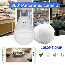 1080P Bulb Light Wireless IP Camera 3.0 MP 360 Degree Panoramic FishEye Security CCTV Camera Wifi P2P Motion Detection IP Camera wistino 1080p wifi camera nanny camera black p2p ip security clock ios android motion detection home security wireless camera