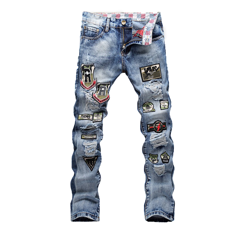 Blue Print Badge Biker Men Jeans Ripped Slim Fit Hip Hop Denim Trousers Men`s Jeans High Quality Motorcycle Pants Punk