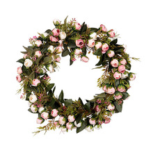 30/40cm Artificial Rose Fake Flower Wreath Silk Flowers Garland for Home Garden Door Wall Hanging Ornament Wedding Decoration