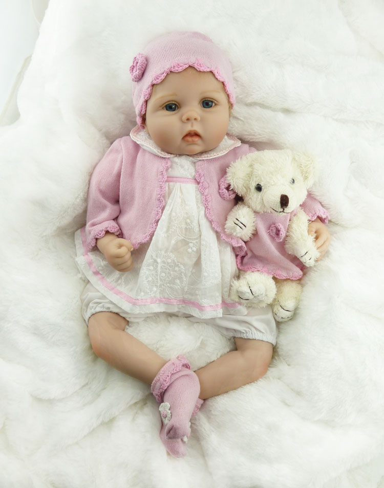 55cm New Soft Silicone Reborn Baby Doll Toy Lifelike NPKCOLLECTION Baby Girl Princess Doll With Bear Child Birthday Gift Present new arrived vinyl lifelike princess doll 45cm girl dress up children toy birthday present