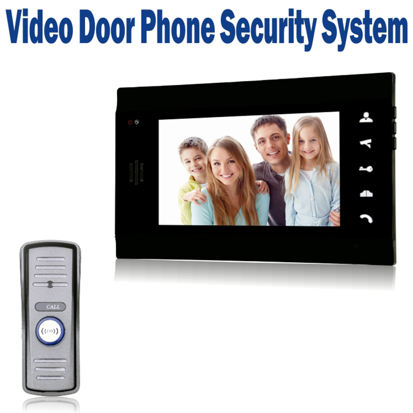 7 LCD Wired Doorbell Video Door Phone Door / CCTV Monitor Intercom with 700 TVL IR Camera Mini Outdoor Unit -Black wired video door phone intercom doorbell system 7 tft lcd monitor screen with ir coms outdoor camera video door bell