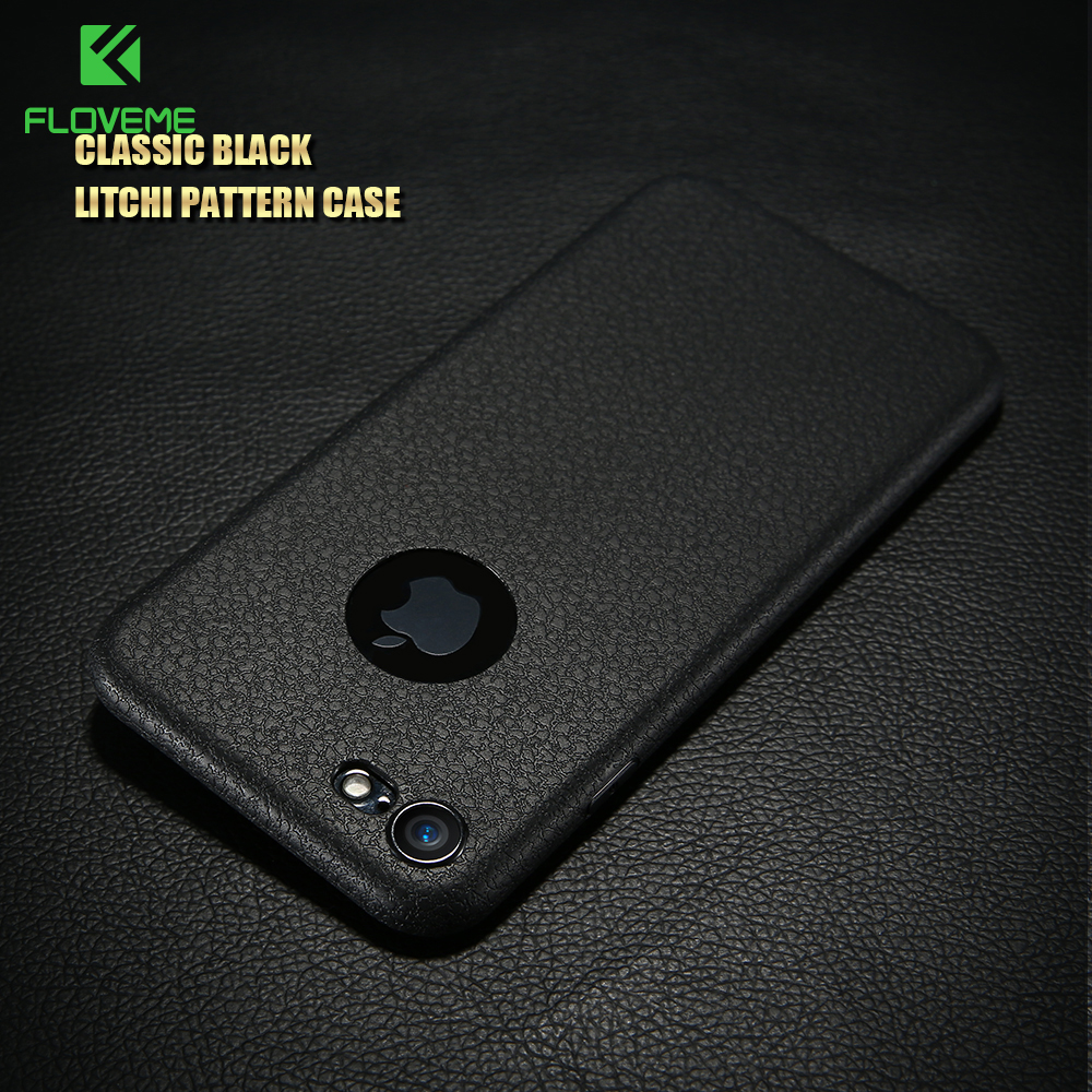 FLOVEME For iPhone 7 Case Luxury Business Litchi Patter Silicone Phone Cases For iPhone 7 7 Plus Fashion Soft TPU Silicon Cover