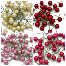 50pcs Mini Pearl Stamens Artificial Flower Small Plastic Berries Cherry Fruit Christmas New Year Decoration DIY Gift Box Wreaths(China)