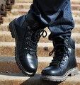 UE 28-66 New Moda Botas de Trabalho De Couro de Vaca Para Homens Cinto de Fivela de Aço Inoxidável Projeto Dos Homens Botas Martin com Pelúcia