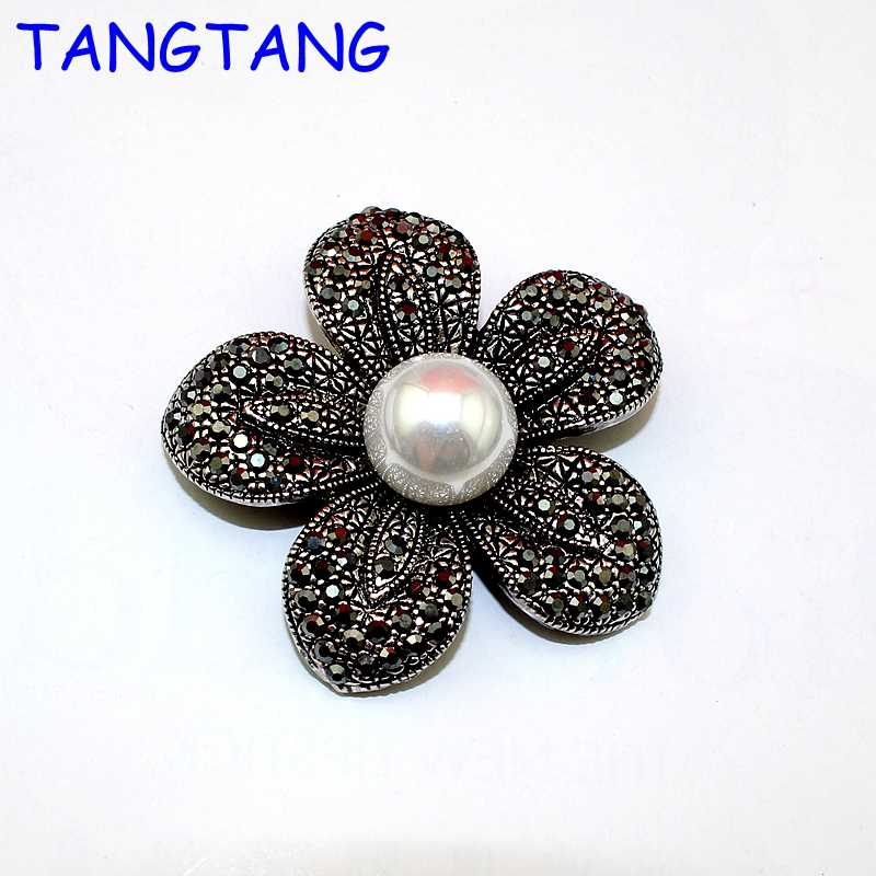 New Hot Antique Silver Finish Black Solid Rhinestone Handmade Simulated Pearls Elegant Flower Petals Rose Brooch Jewelry, BH8165