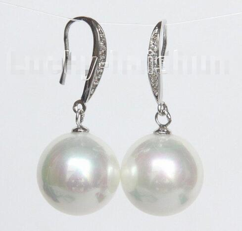 Hitches Sales Free Shipping ******** Dangle 14mm Round White South Sea Shell Saddle Earrings 925 Silver Hook j10531