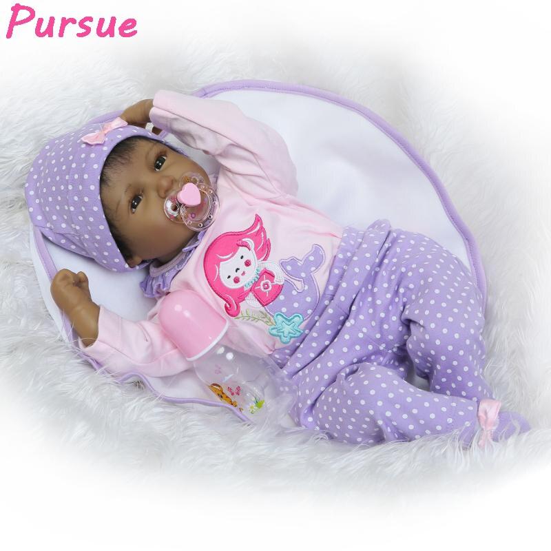 pursue 55cm lifelike black reborn baby dolls silicone