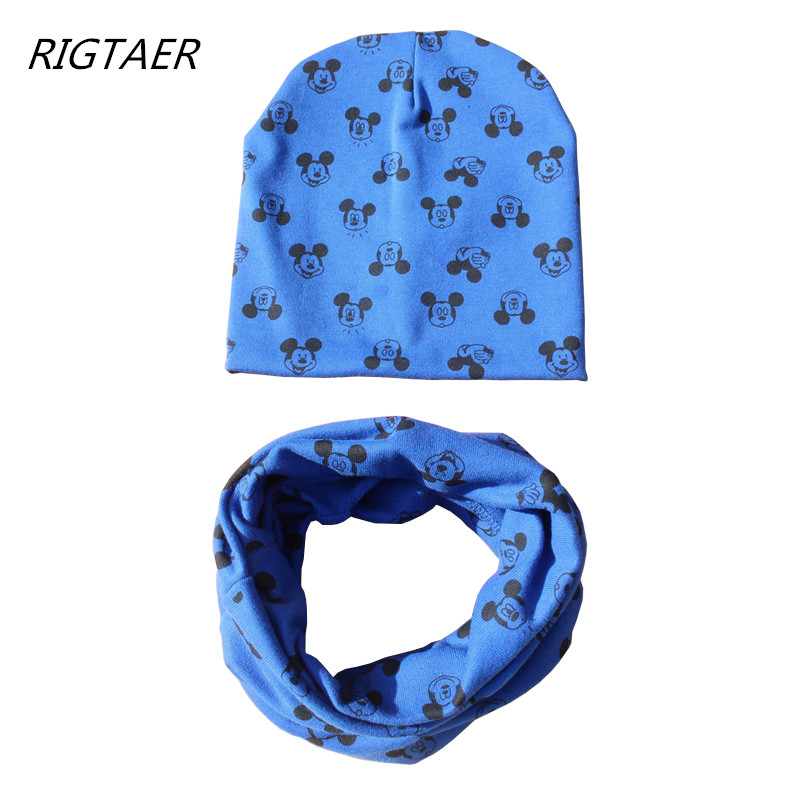 1pc 2019 Baby Hat scarf Cartoon Print Caps For Boy Girl Cotton Knit Spring Autumn Winter Children beanies kids photography props(China)