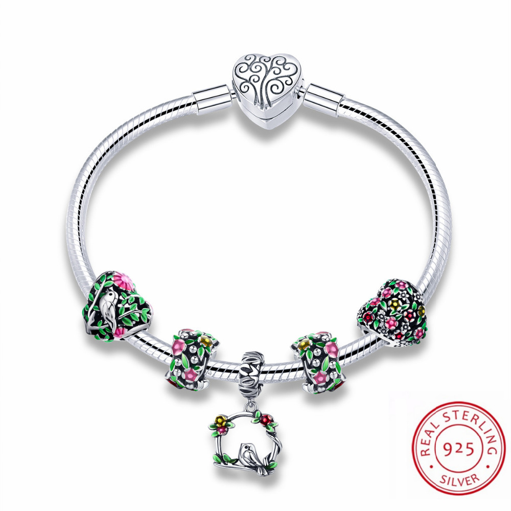 Vibrant Spring Charms 100% Authentic 925 Sterling Silver Bracelets & Bangles for Women Beads Silver Bracelet Spring Jewelry все цены